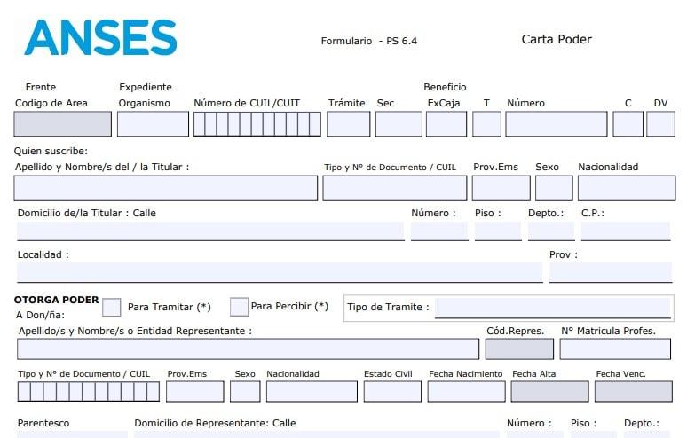 Formulario PS 6.4 para registrar tu huella