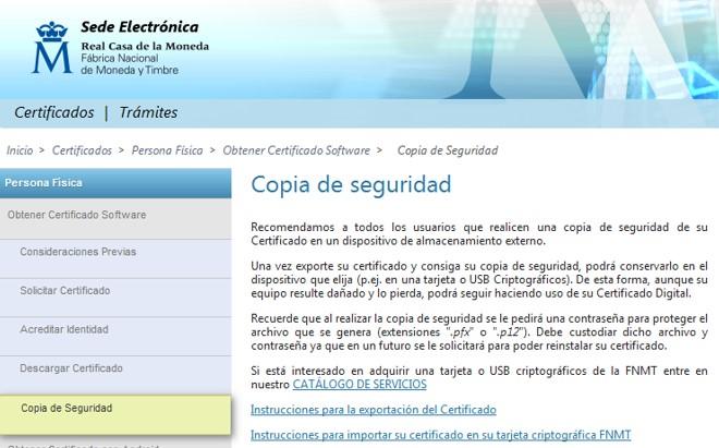 Tramitar certificado digital - copia de seguridad