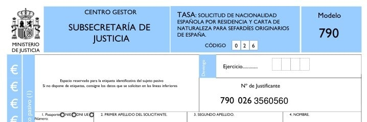 Modelo 790 para tramitar la ciudadanía española