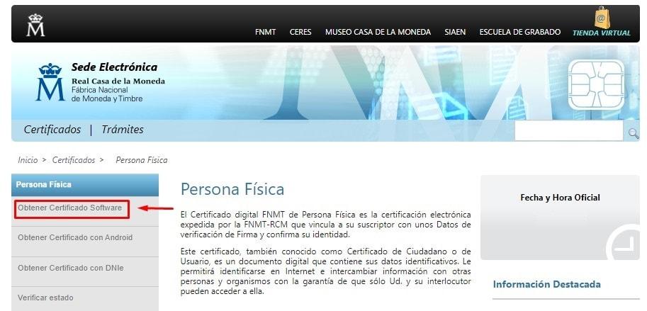 código para el certificado digital