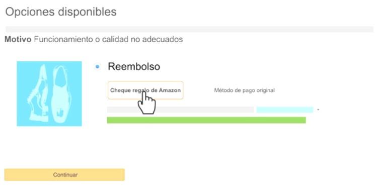 Opciones de reembolso en Amazon